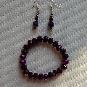Purple Bracket and earring set